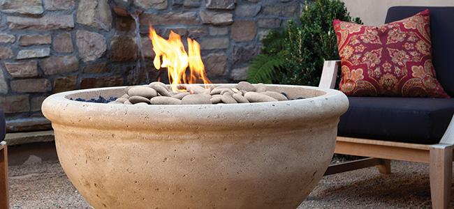 Custom Eldorado Stone Firebowls from Pine's Stone Company